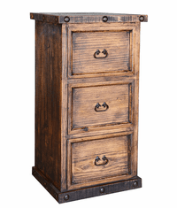 Old West Rustic 3 Drawer File Cabinet