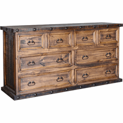 Old West Rustic 8 Drawer Dresser