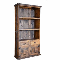 Old West Rustic Bookcase w/ Cabinets