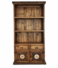 Old West Rustic Bookcase w/ Marble Stars