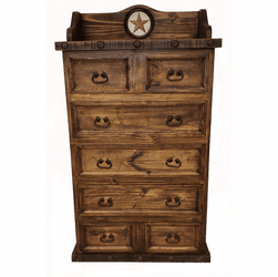 Old West Rustic Chest W/ Stone Star