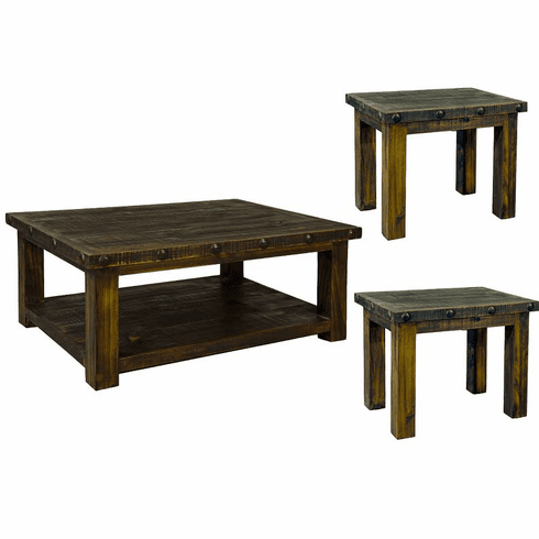 Old West Rustic Coffee and End Table Set