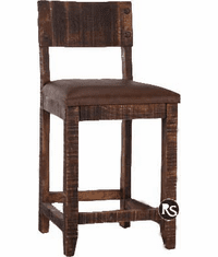 Old West Rustic Counter Stool With Back