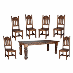 Old West Rustic Dining Table Set