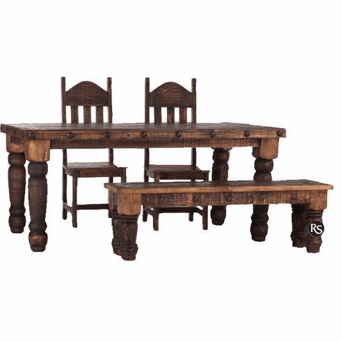 Old West Rustic Dining Table Set With Bench