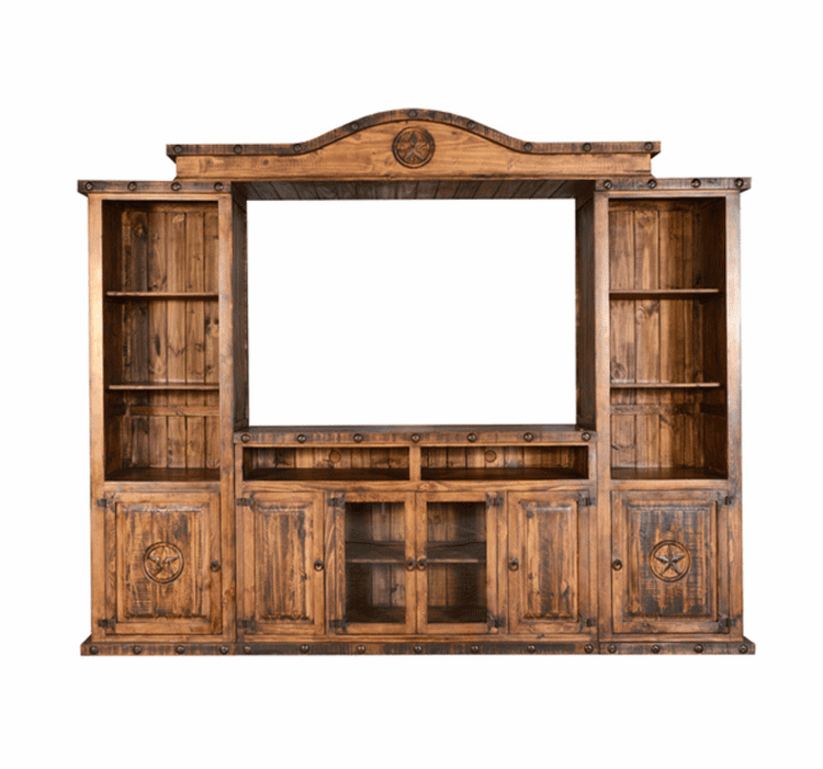 Old West Rustic Entertainment Center W/ Stars