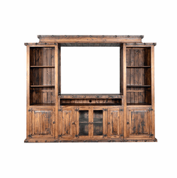 Old West Rustic Entertainment Center w/ Straight Bridge
