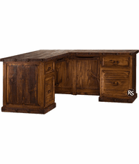 Old West Rustic L-Shaped Wood Desk