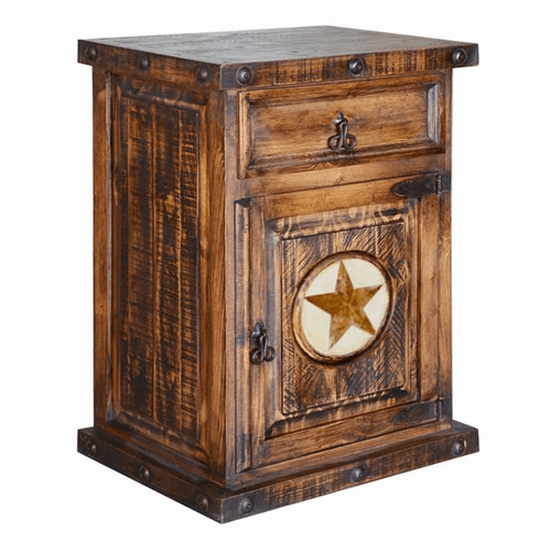 Old West Rustic Nightstand W/ Stone Star