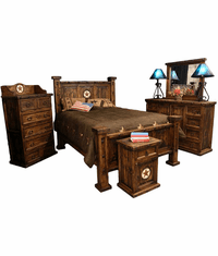 Old West Rustic Oasis Bedroom Set With Stars