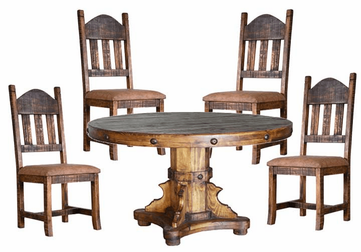 Old West Rustic Round Dining Table Set