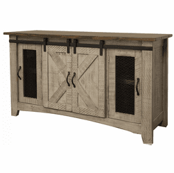 Puebla Gray TV Stand w/ Barn Doors 60""