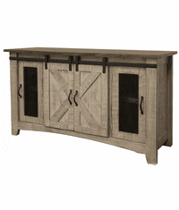 Puebla Gray TV Stand w/ Barn Doors 70""