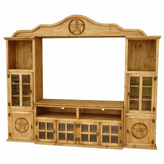 Puebla Rustic Pine Wall Unit w/ Star