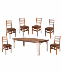 Puebla Rustic Two Tone Dining Table Set