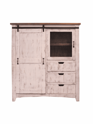 Puebla Rustic White Gentleman's Chest Armoire