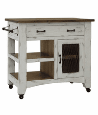 Puebla Rustic White Kitchen Cart