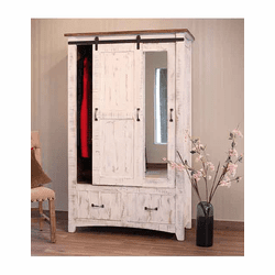 Puebla Rustic White Wash Armoire