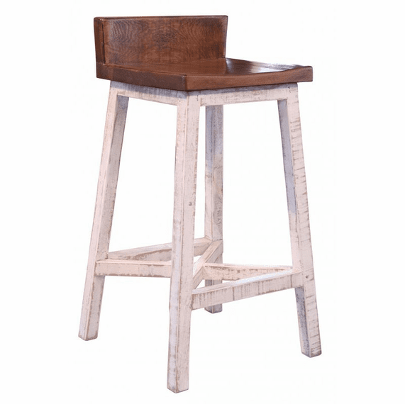 Puebla Rustic White Wash Bar Stool
