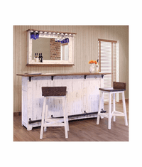 Puebla Rustic White Wash Bar & Stools Set