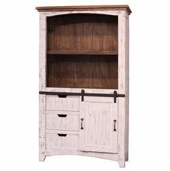 Puebla Rustic White Wash Bookcase W/ Barn Door