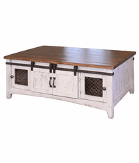 Puebla Rustic White Wash Coffee Table