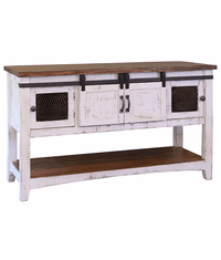 Puebla Rustic White Wash Console Table