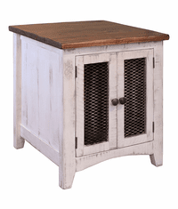 Puebla Rustic White Wash End Table