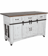 Puebla Rustic White Wash Kitchen Island