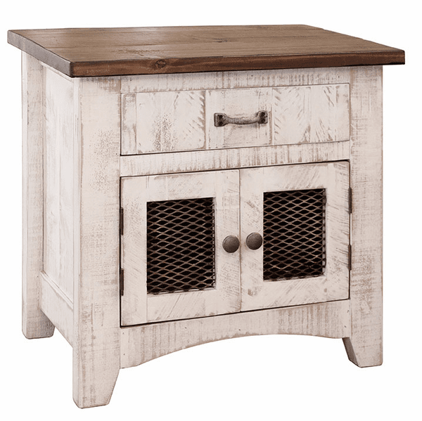 Puebla Rustic White Wash Night Stand