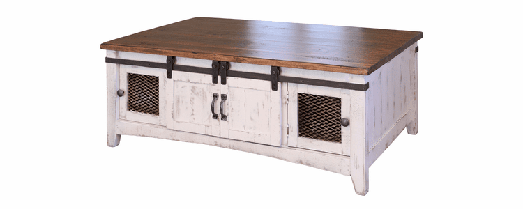 Puebla Rustic White Wash Occasional Table Set