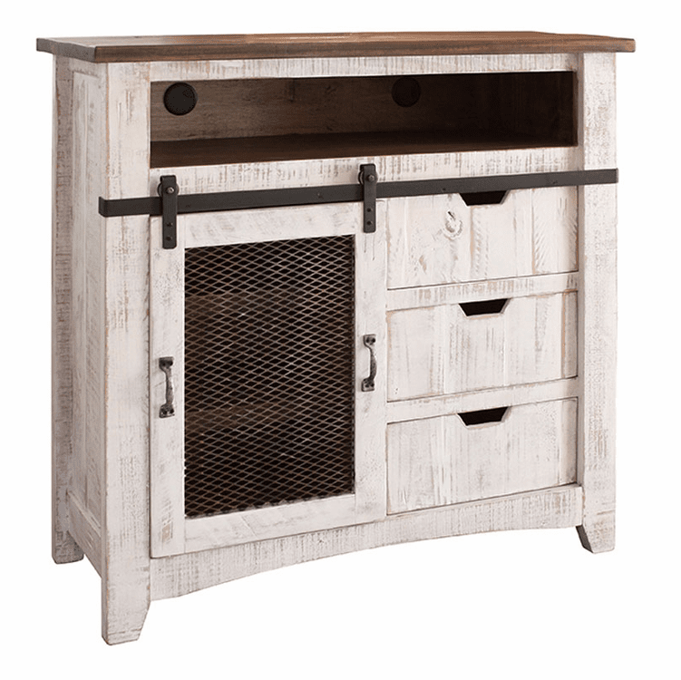 Puebla Rustic White Wash TV Media Chest