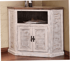 Puebla White Wash Corner TV Stand