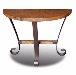 Ridge Half Moon Copper Console Table