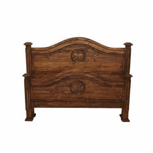 Roma Rustic Bed Frame Dark Stain With Stars