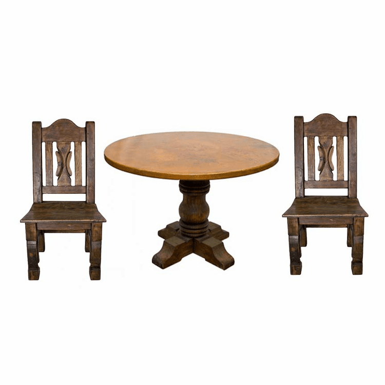 Rustic Copper Table Set, Round Copper Table Set, Round Table Set