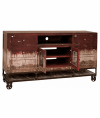 Rustic Industrial Red TV Stand 70""