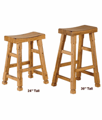 Rustic Oak Saddle Seat Stool