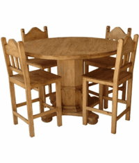 Rustic Round Pedestal Gathering Dining Table Set
