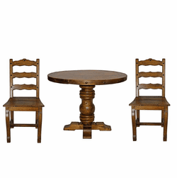 Rustic Round Table Set w/ 4 Chairs