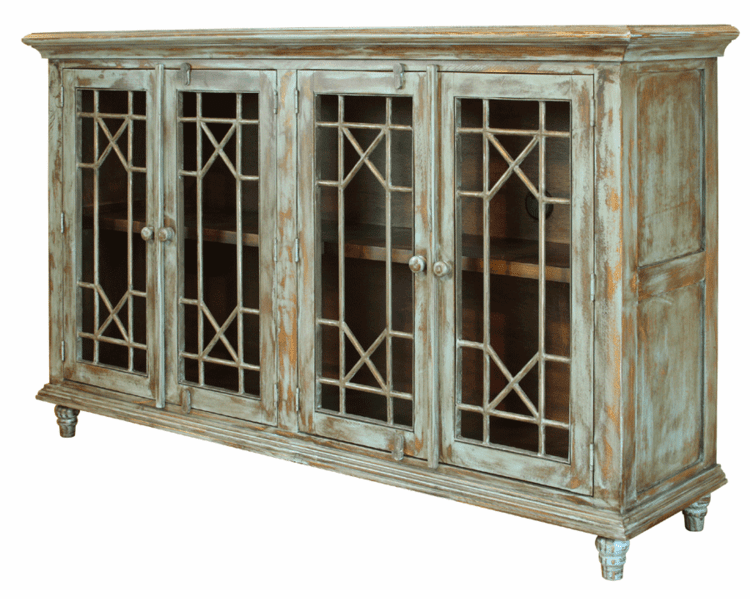 Rustic Vintage Turquoise Console Table