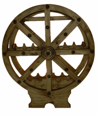 Rustic Wagon Wheel Wine Rack