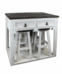 Rustic White Kitchen Island with Stools & Storage