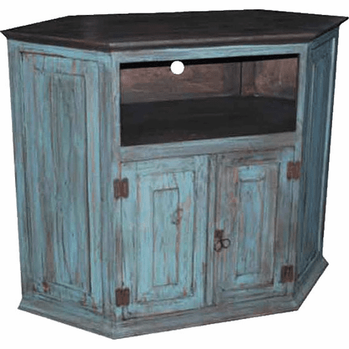 Rustic Wood Corner Turquoise TV Stand