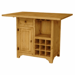 Rustico Wood Kitchen Island W/ Wine Rack