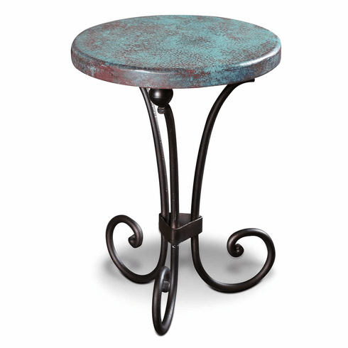 Saltillo Copper Top Round Side Table With Turquoise