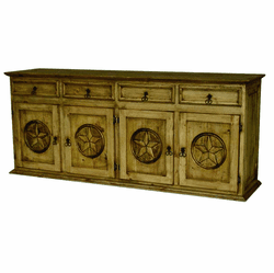 Saltillo Star Pine Wood Credenza Extra Large 82""