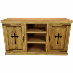 "San Carlos 65"" Rustic TV Stand with Cross"