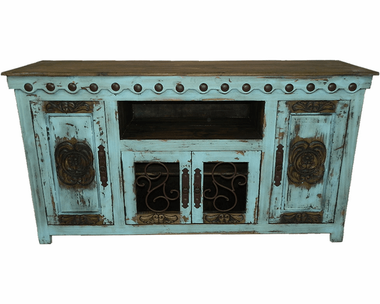 Antique Rustic Turquoise Tv Stand, Rustic Furniture Tv Stand
