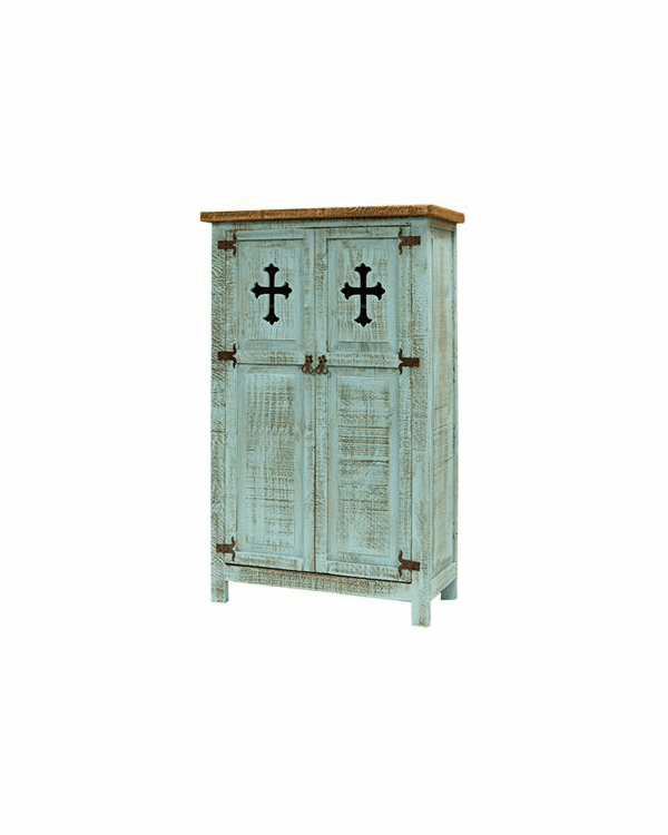 San Carlos Turquoise Cabinet With Cross